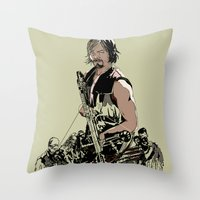 daryl dixon Throw Pillows featuring Daryl Dixon by Huebucket