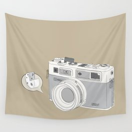"""Yashica Camera - """"Say Cheese"""" - soft-brown Wall Tapestry"""