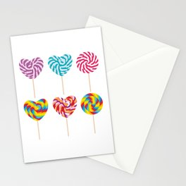 lollipops, colorful spiral candy cane with twisted design Stationery Cards