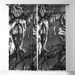 Wolfman and Zombie Head(BW) Blackout Curtain