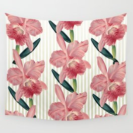 Pink Orchids Beige Pinstripes Wall Tapestry