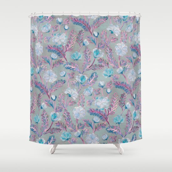 soft smudgy blue and purple floral pattern shower curtain by micklyn society6. Black Bedroom Furniture Sets. Home Design Ideas