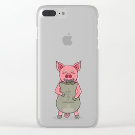 pig and bag with gold coins Clear iPhone Case