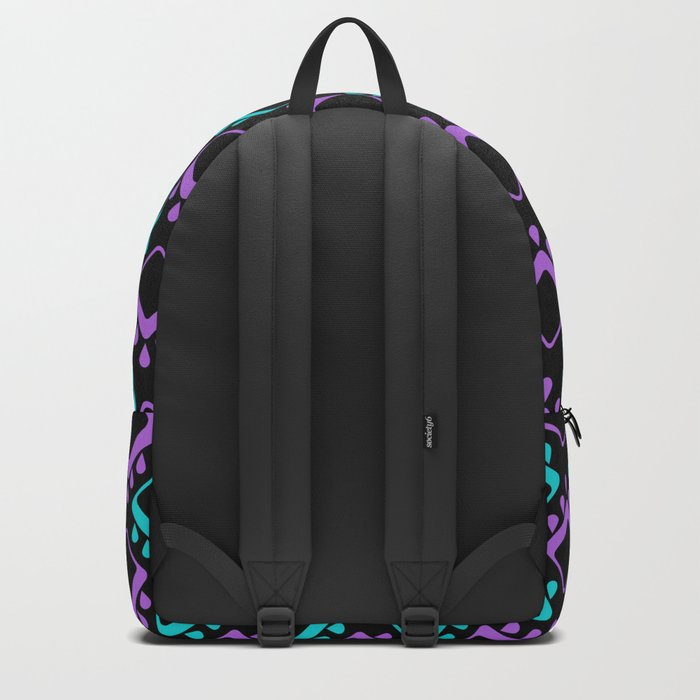 Abstract colorful geometric pattern . Black , Magenta , turquoise . Backpack