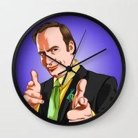 better call saul Wall Clocks featuring Better Call Saul by Ryan Ketley