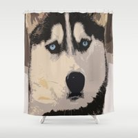 duvet cover Shower Curtains featuring DOG DUVET COVER by aztosaha