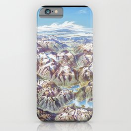 Heinrich Berann - Panoramic Painting of the North Cascades with labels (1987) iPhone Case