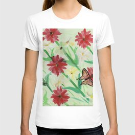 Daisies Butterflies Katydid Red Green and White T-shirt
