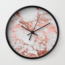 Stylish white marble rose gold glitter texture image Wall Clock