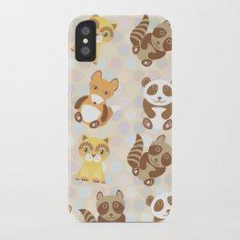 Funny cute raccoon, panda, fox, cat on dot background iPhone Case