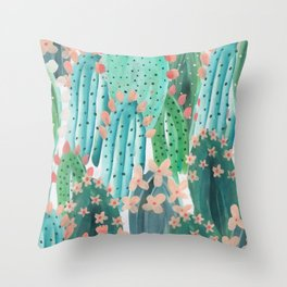 Colorful watercolor cacti Throw Pillow
