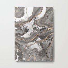 Liquid Marble Agate Glitter Glam #3 (Faux Glitter) #decor #art #society6 Metal Print