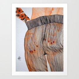 Se toca el culo para quitarse las medias. Art Print
