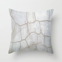 cracked Throw Pillows featuring Cracked  by Ethna Gillespie