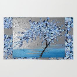 blue cherry blossom with silver grey gray white tree trees japanese japan beautiful prints Rug