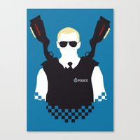 hot fuzz Canvas Prints featuring Here Come The Fuzz by Byway