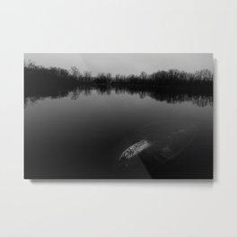 Sunset at the Lake - B&W Metal Print