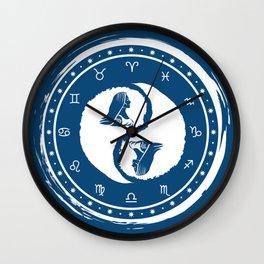 Virgo Yin Yang Sixth Zodiac Sign Wall Clock