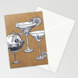 Vintage Cocktails on Kraft Stationery Cards