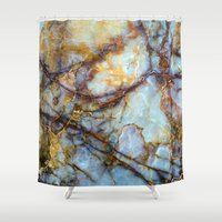 white marble Shower Curtains featuring Marble by Patterns and Textures