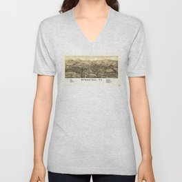 Aerial View of Springfield, Vermont (1886) Unisex V-Neck