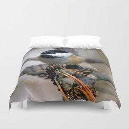 October chickadee in the pines Duvet Cover