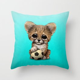 Cheetah Cub With Football Soccer Ball Throw Pillow