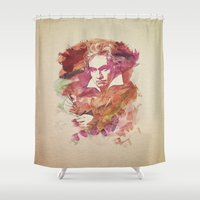 beethoven Shower Curtains featuring Ludwig van Beethoven Watercolor Remix  by badbugs_art