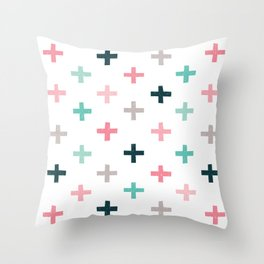 SWISS CROSSES - BLUSH PINK and MINT Throw Pillow