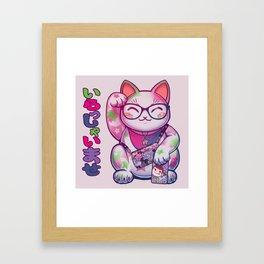 Maneki Neko Cotton Framed Art Print