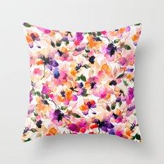 Chic Floral Pattern Pink Orange Pastel Watercolor Throw Pillow