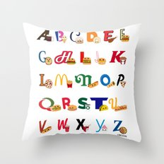 Fast Food Alphabet Throw Pillow