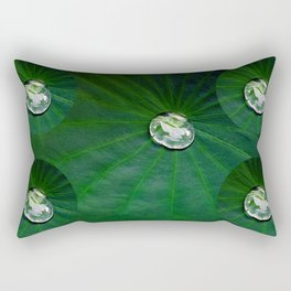 Water Droplets On Lotus Leaf  Rectangular Pillow