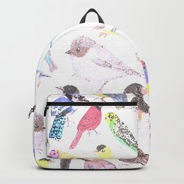 Birds of America- pets and wild birds in stained glass Backpack