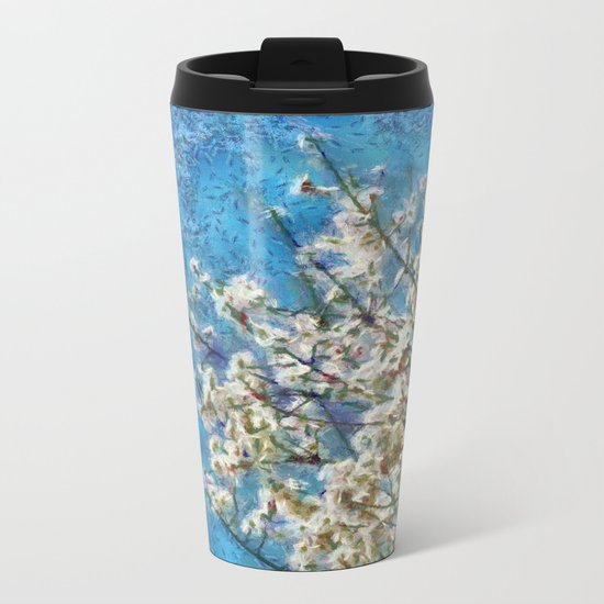 Blossom and Blue Sky In Monet Style Metal Travel Mug
