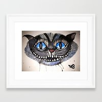 cheshire cat Framed Art Prints featuring Cheshire by haley baird