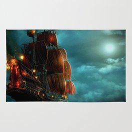 Pirates on sea Rug