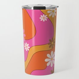 Groovy 60's and 70's Flower Power Pattern Travel Mug