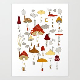 mushroom homes Art Print