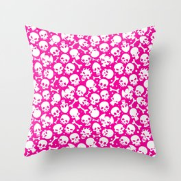 Bones and Skulls on Pink Background Throw Pillow