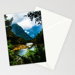 Fjord through the ferns - Milford Sound, New Zealand Stationery Cards