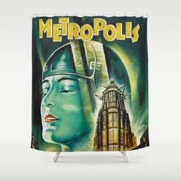 Vintage 1926 'Metropolis' Lobby Card Movie Film Poster by Fritz Lang Shower Curtain