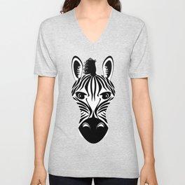 Black and White Zebra Pattern Unisex V-Neck