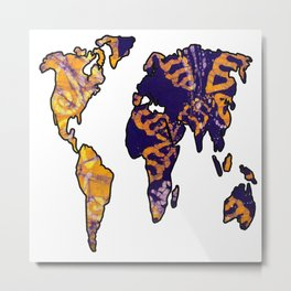 Purple Gold World Map Metal Print