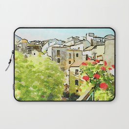 Tortora view of historic center with red flower Laptop Sleeve