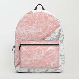Geometrical pastel gray coral rose gold marble Backpack