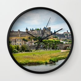 Panoramic view of the castle and medieval village of Carcasonne France Europa Wall Clock