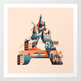 Wanderlust Alphabet – A is for Amsterdam Art Print