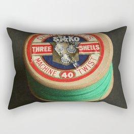 Green Vintage Cotton Reel Rectangular Pillow