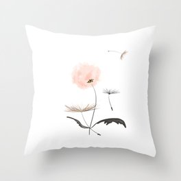 Sweet dandelions in pink - Flower watercolor illustration with glitter Throw Pillow